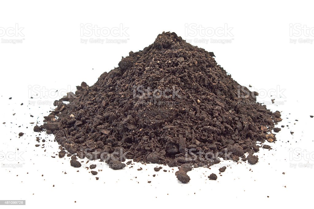 Humus soil pile isolated on white stock photo