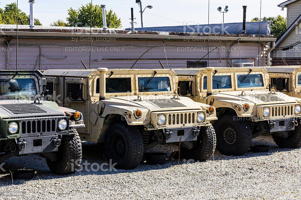 Humvee Multipurpose Vehicles lined up I stock photo