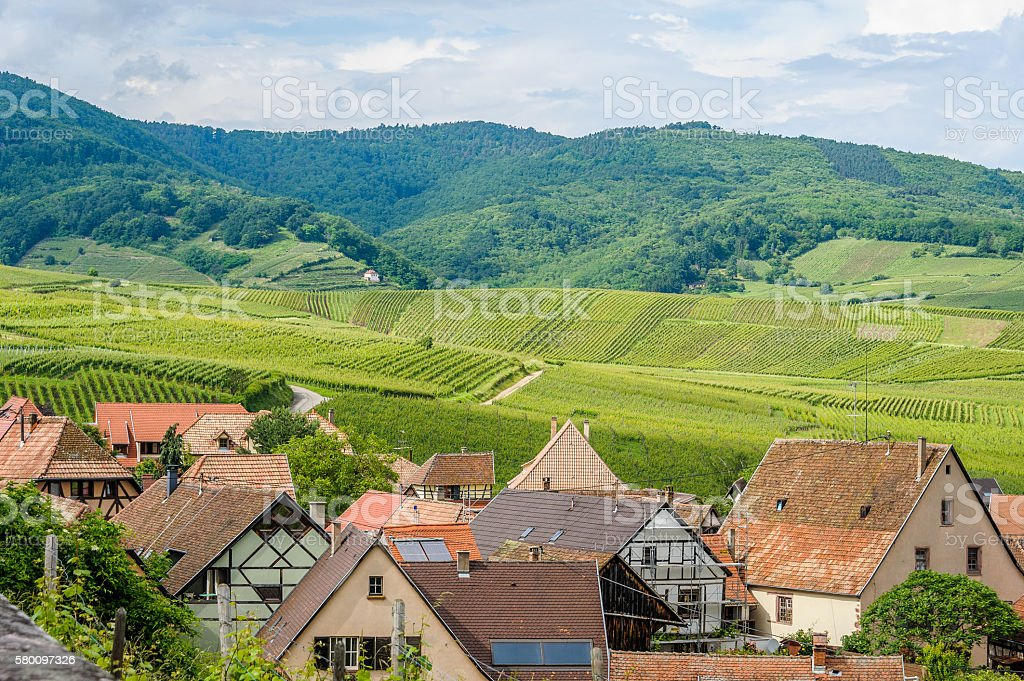 Hunawihr in Alsace surrounded by vineyards stock photo