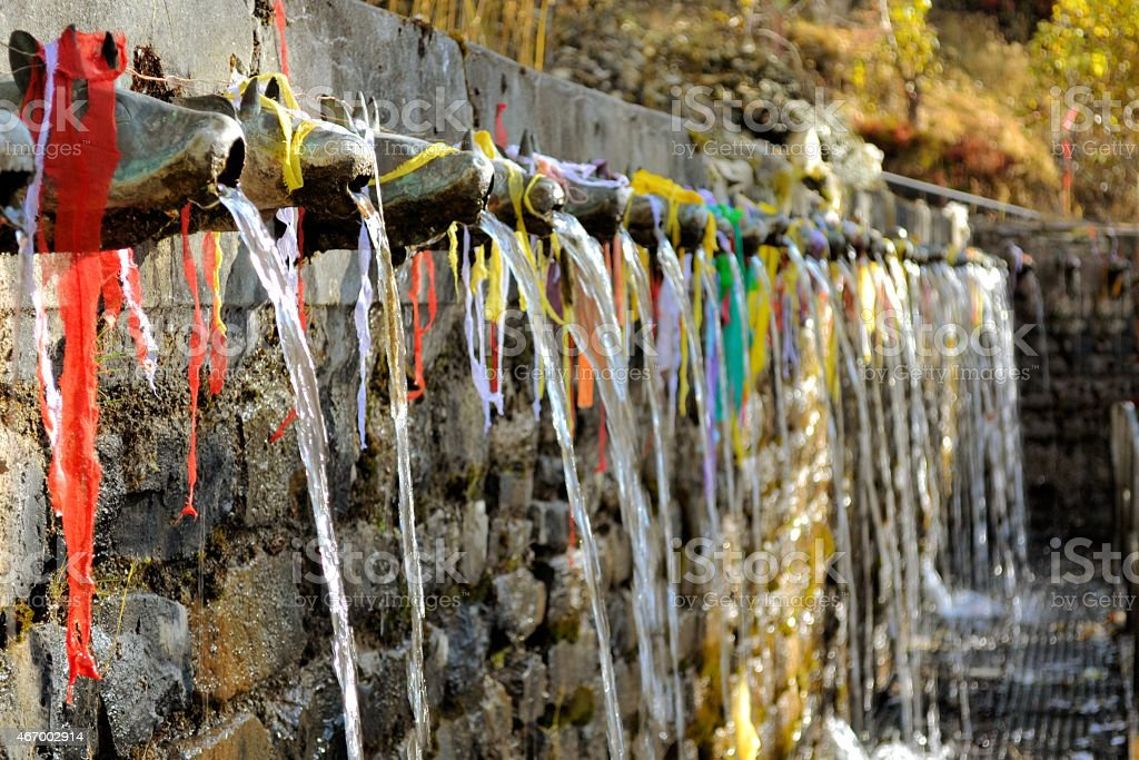 hundred and eight holy fountains of Muktinath Hindu temple stock photo