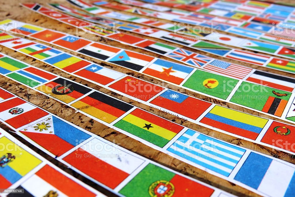 hundred and fifty World flags stock photo