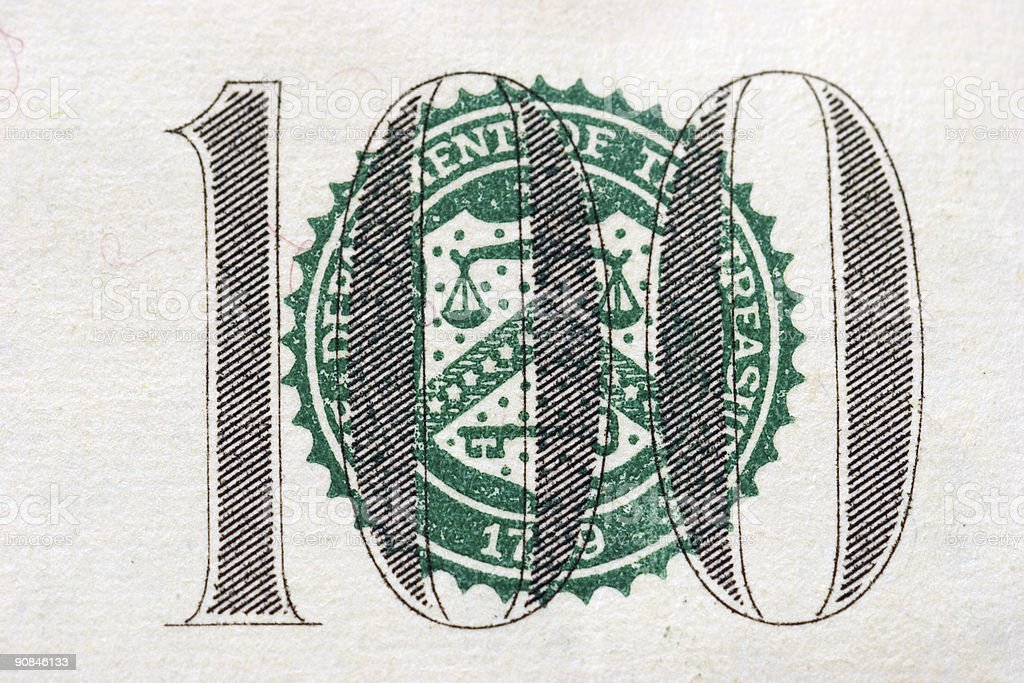 Hundred dollar bill balance scales stock photo