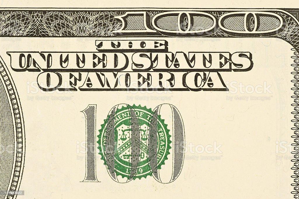 Hundred Dollar Bill Detail royalty-free stock photo