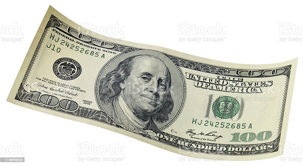 Hundred dollar bill, isloated stock photo
