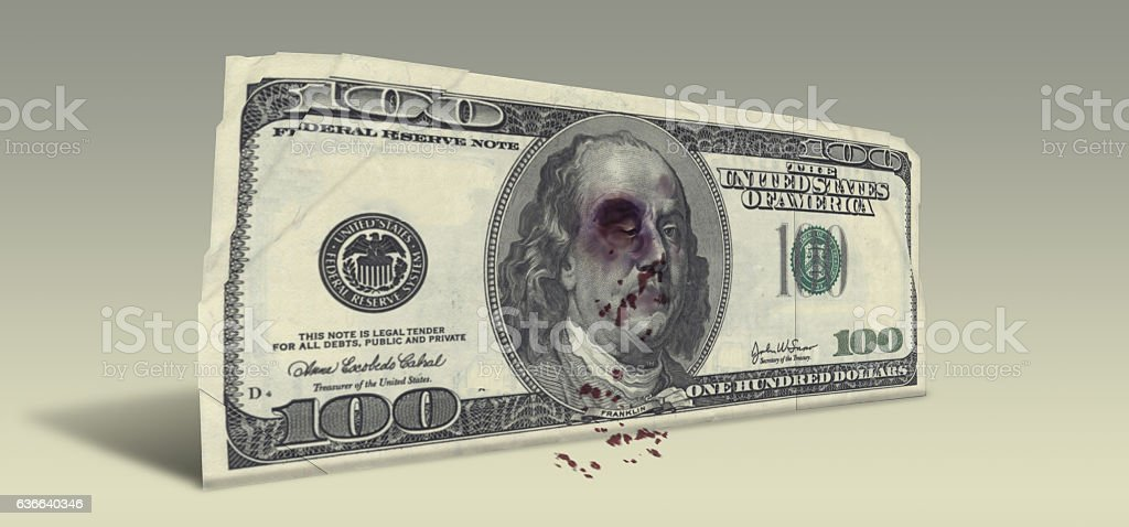 US Hundred Dollar bill with Beaten Ben Franklin stock photo