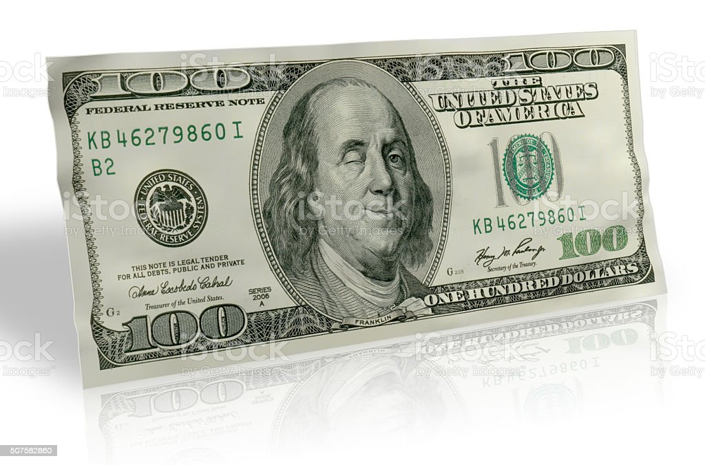 US Hundred Dollar bill with Smiling Ben Franklin stock photo