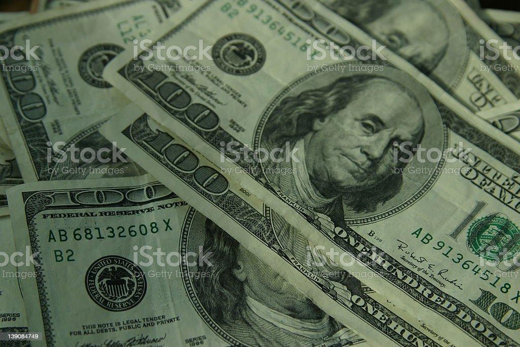 Hundred Dollar Bills - Background One royalty-free stock photo