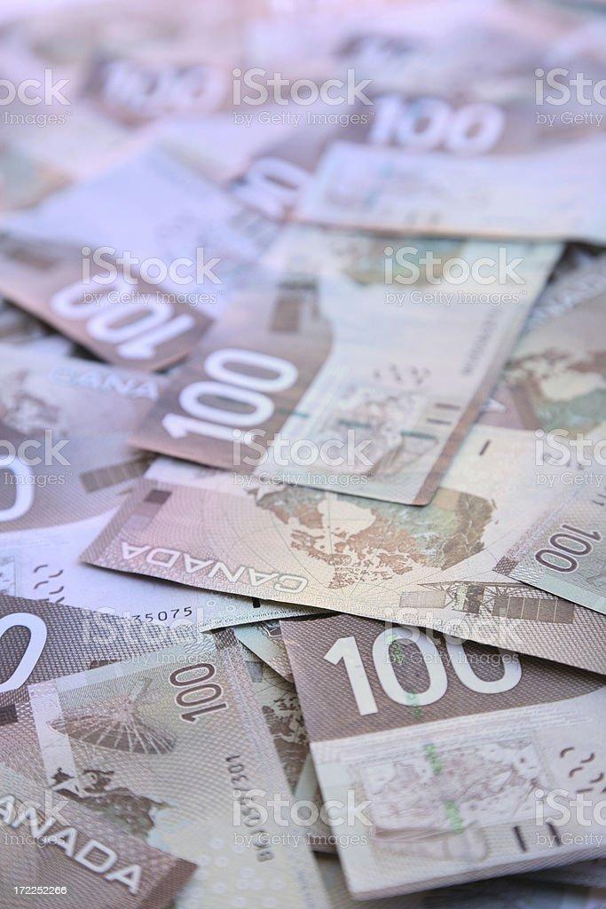 Hundred dollar bills – Canadian royalty-free stock photo