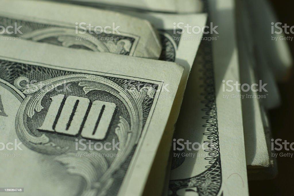 Hundred Dollar Bills - Macro Corner royalty-free stock photo