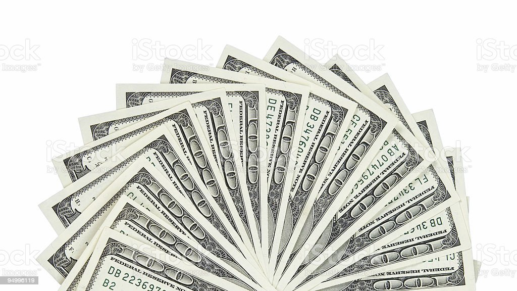 Hundred dollar bills (cropped) stock photo