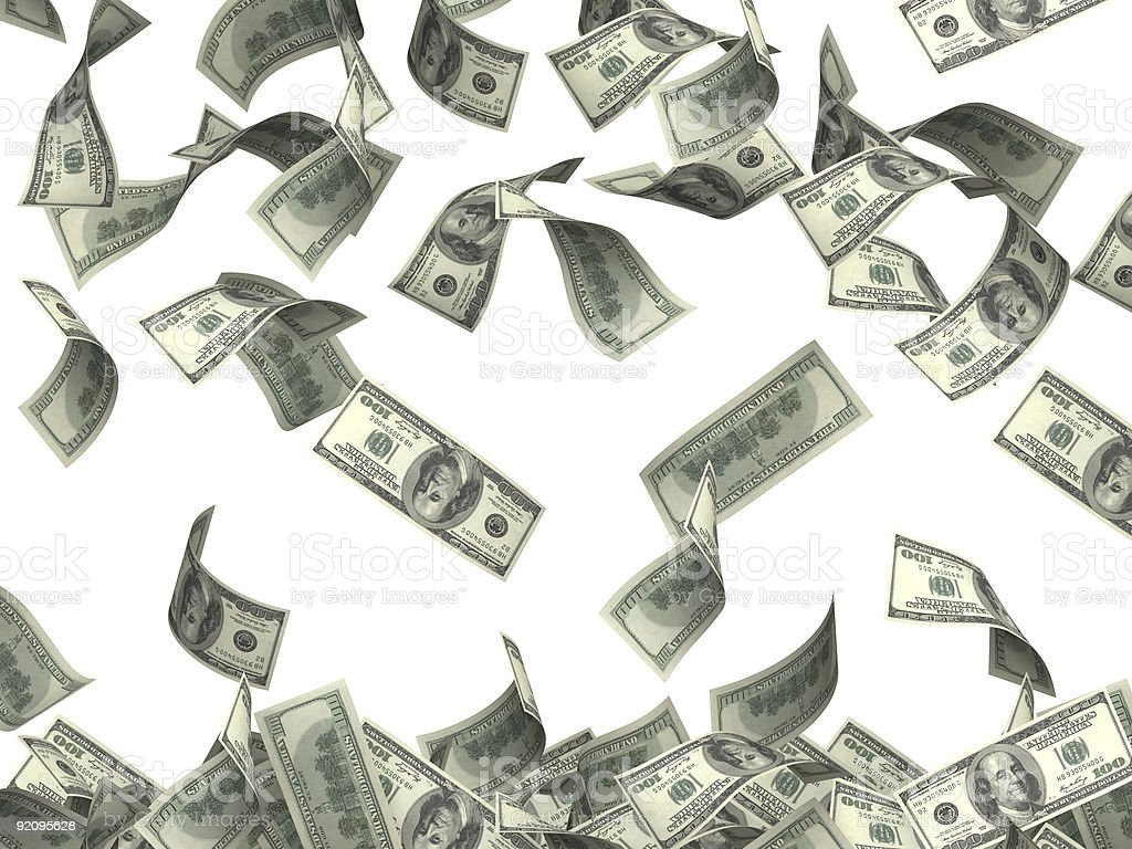 Hundred dollar bills raining to signify wealth stock photo