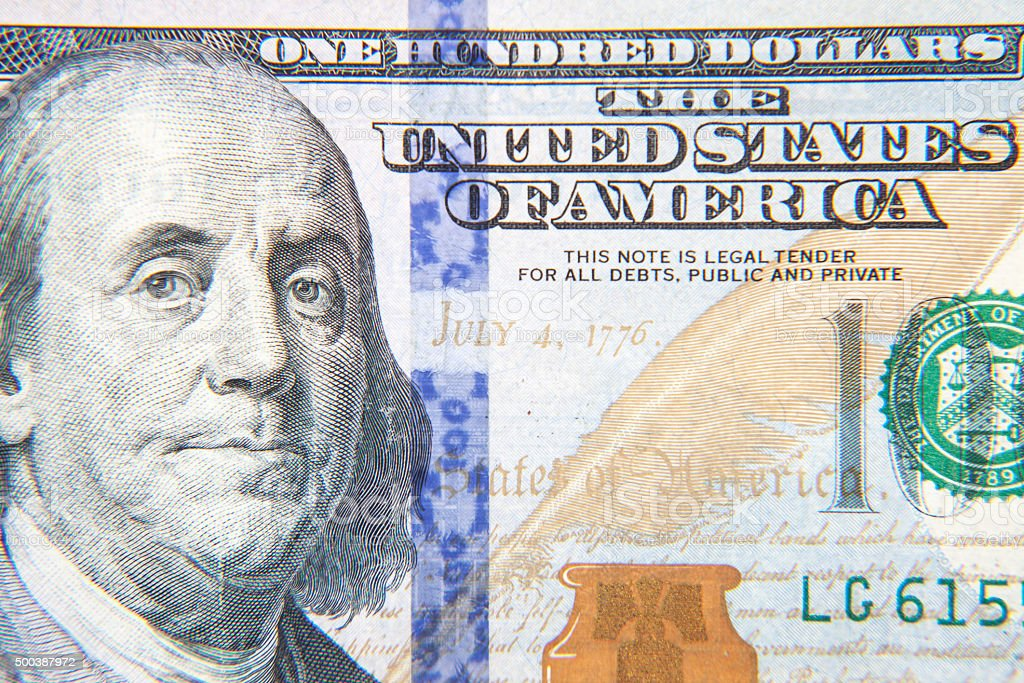 Hundred dollar note detail stock photo