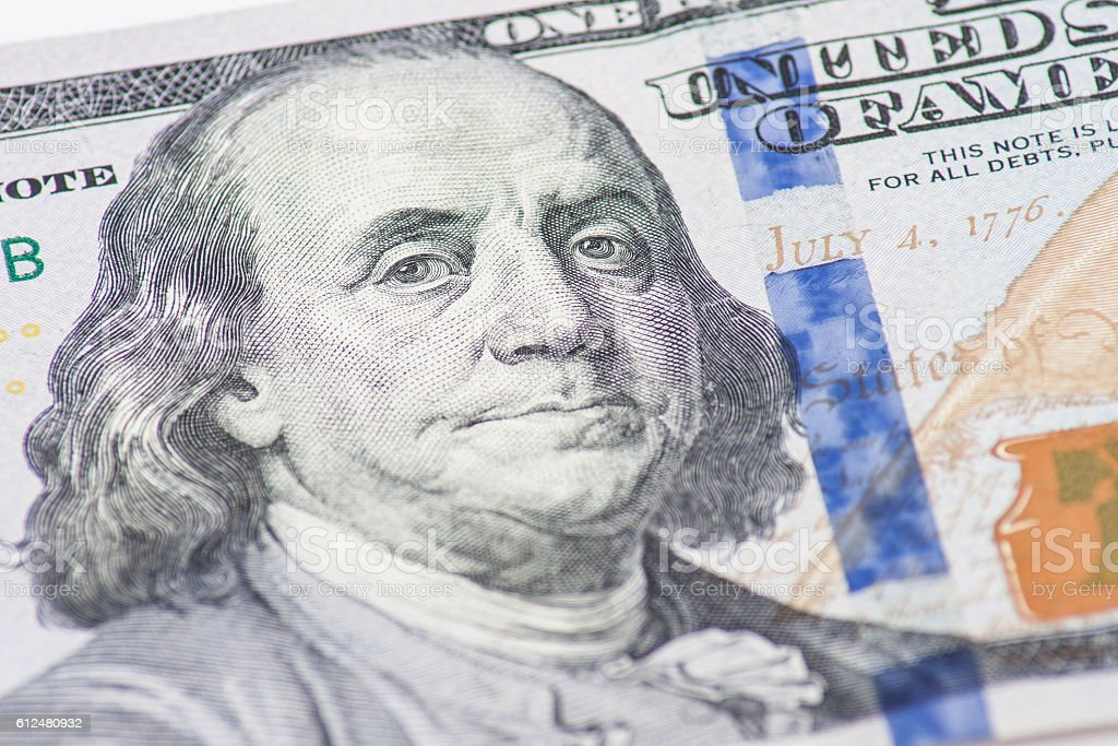 Hundred dollar note detail stock photo