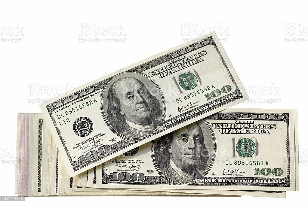 US Hundred Dollar Stack stock photo