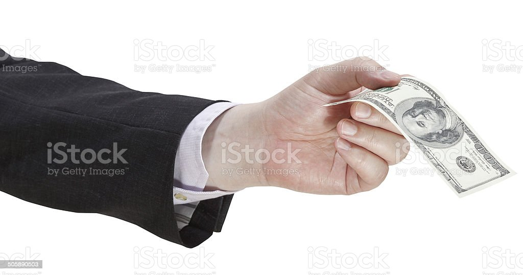hundred dollars banknote in businessman hand stock photo