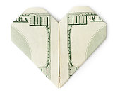 Hundred dollars heart isolated