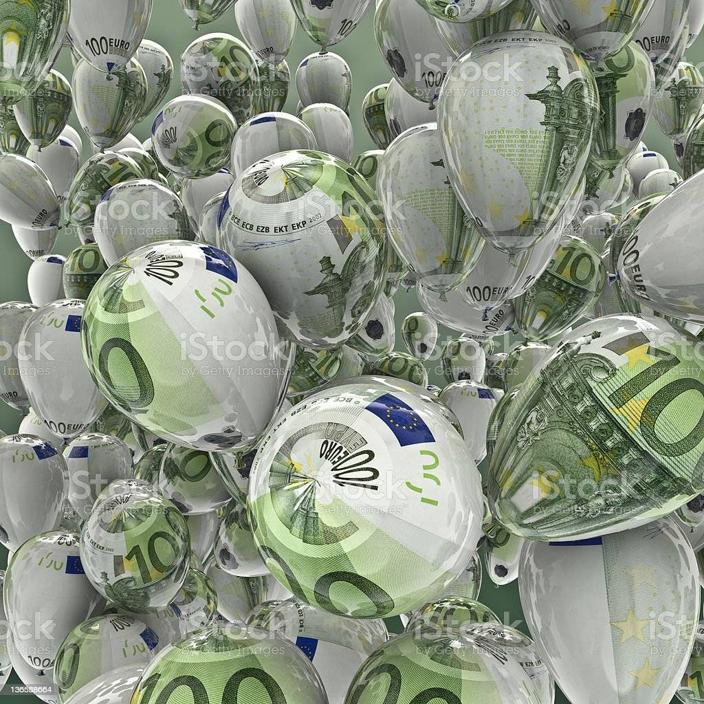 Hundred euro balloons stock photo