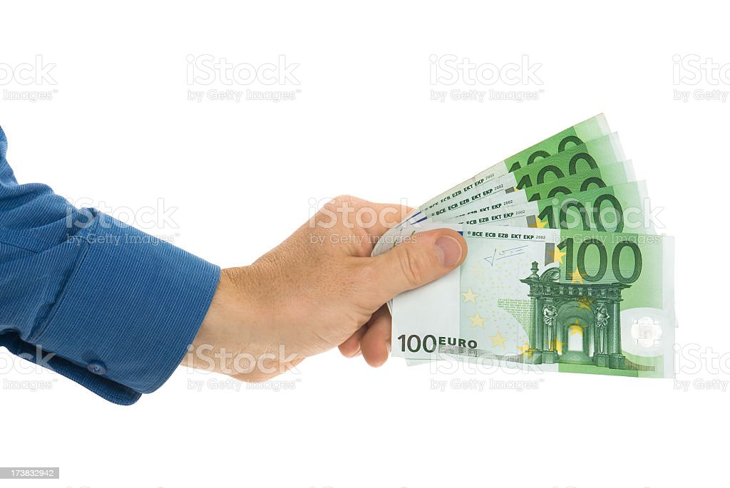 Hundred euro banknotes in hand isolated on white royalty-free stock photo