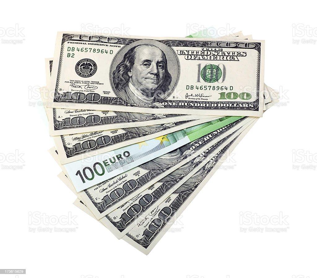 Hundred Euro Dollars Fan royalty-free stock photo