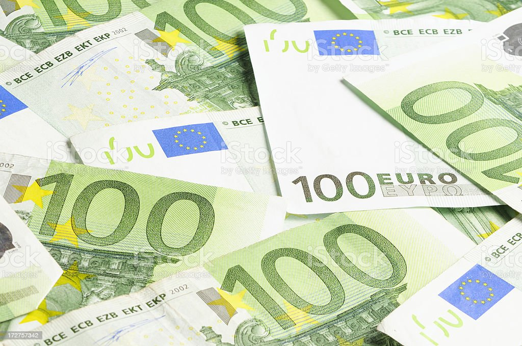 Hundred Euro Notes royalty-free stock photo