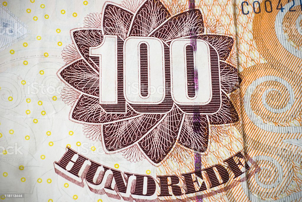 Hundred kroner bill royalty-free stock photo