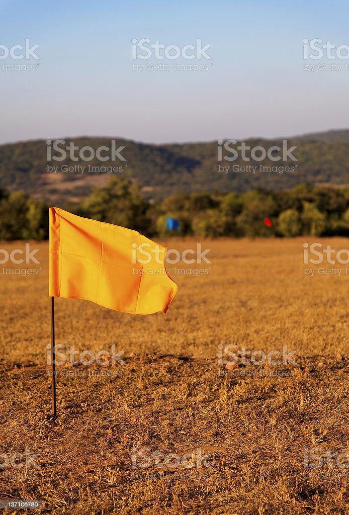 hundred metre marker flags stock photo