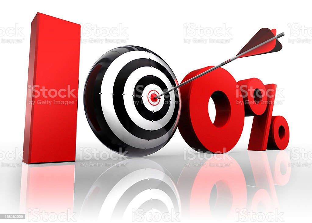 hundred per cent conceptual target stock photo