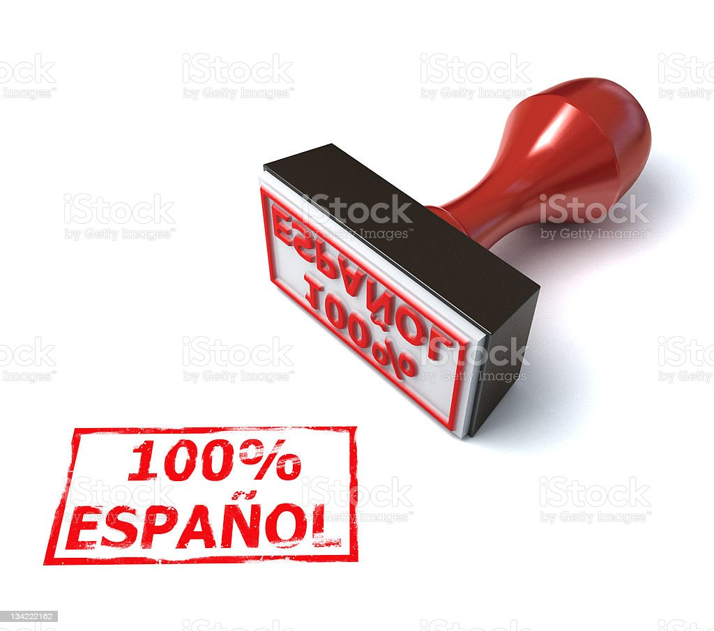 hundred percent espanol stamp royalty-free stock photo