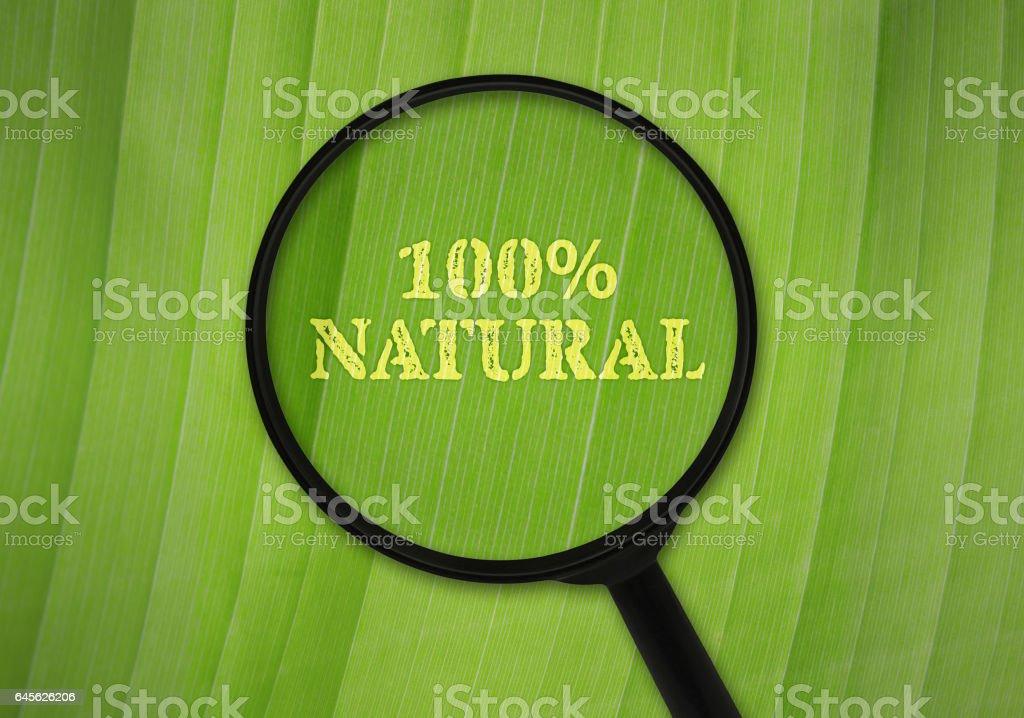 Hundred percent natural stock photo