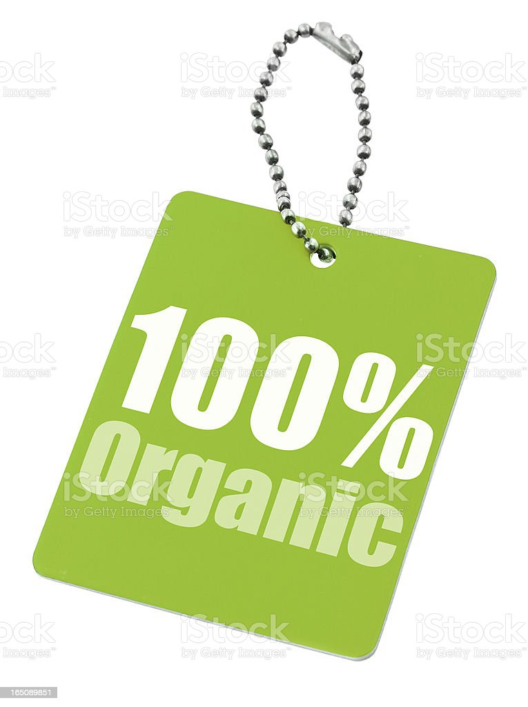 Hundred percent organic label stock photo
