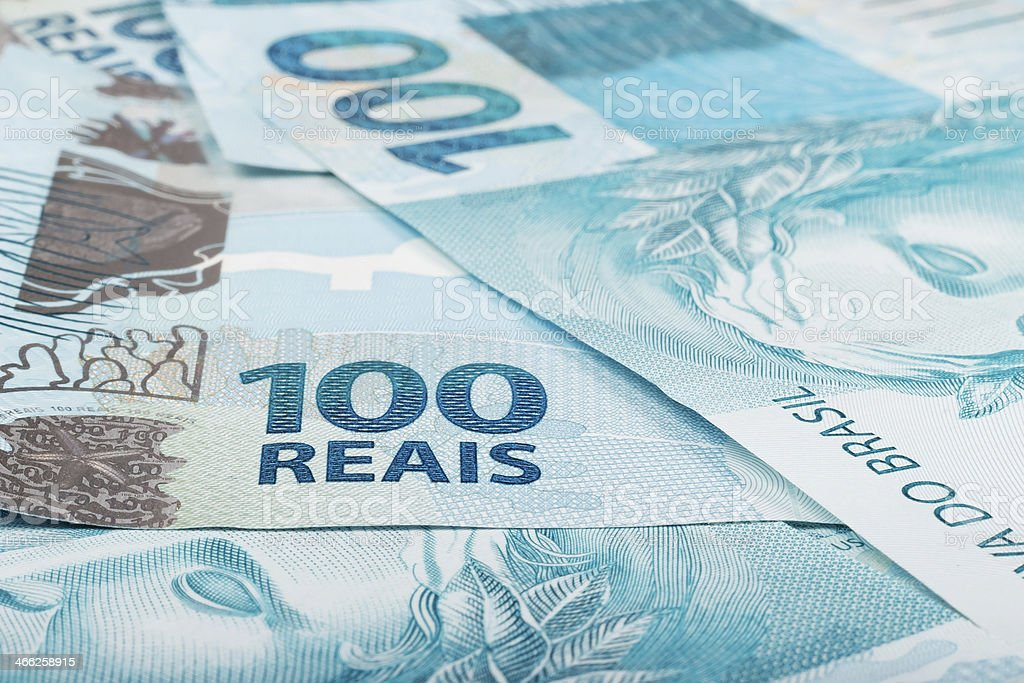 hundred reais bills stock photo