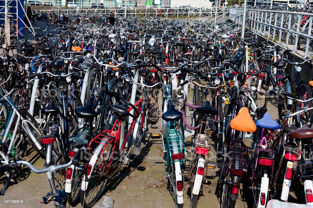 Hundreds of Bicycles Amsterdam Train Station royalty-free stock photo