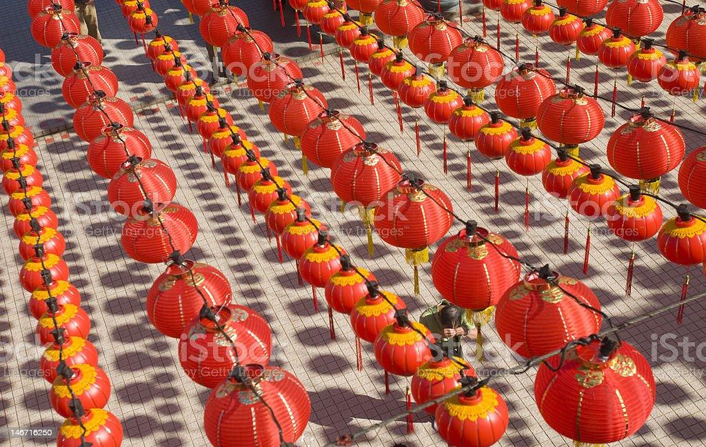 Hundreds of red lantern. stock photo
