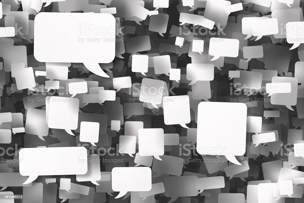 Hundreds of white speech bubbles mid air stock photo