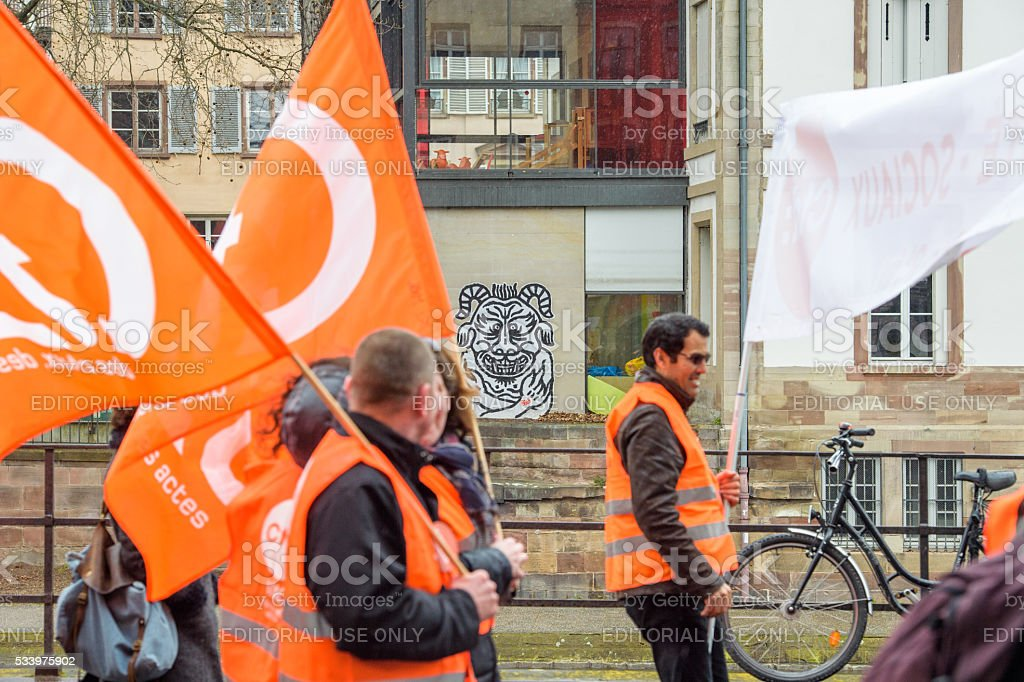 Hundreds protests against departmental budget cuts for 2016 stock photo