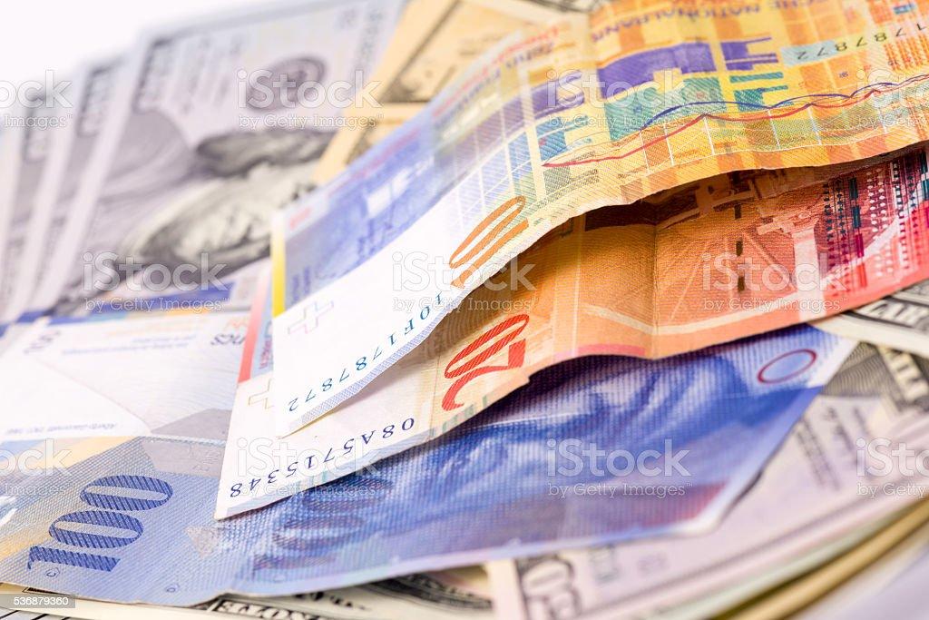Hundred,Twenth,Ten Swiss Francs stock photo