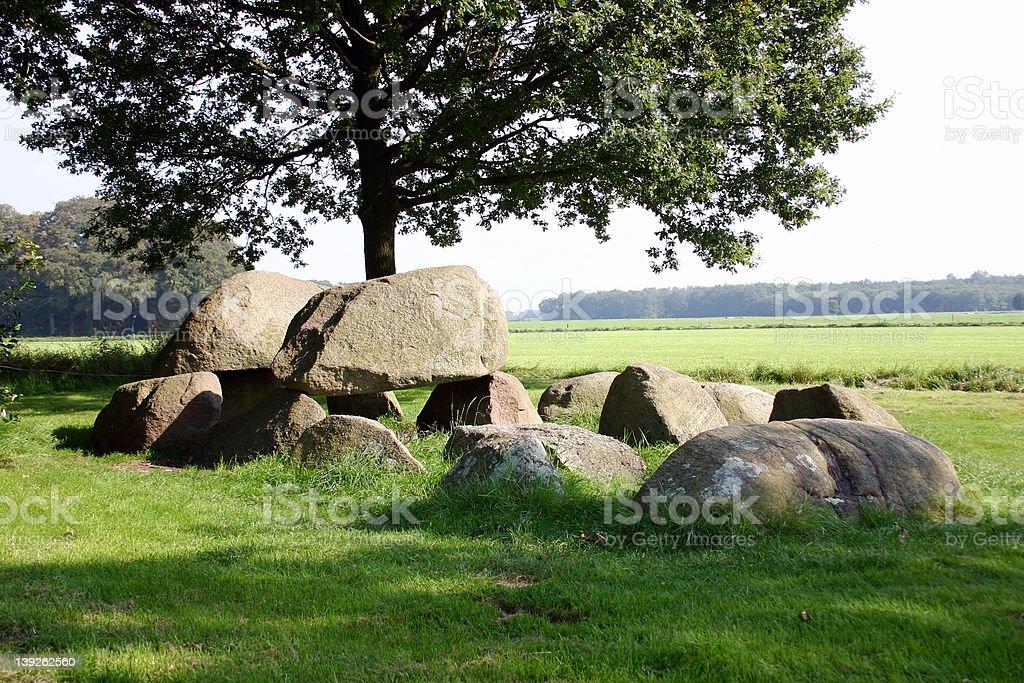 Hunebed, perto de Westervelde, Drenthenetherlands.kgm, Holanda. foto de stock royalty-free