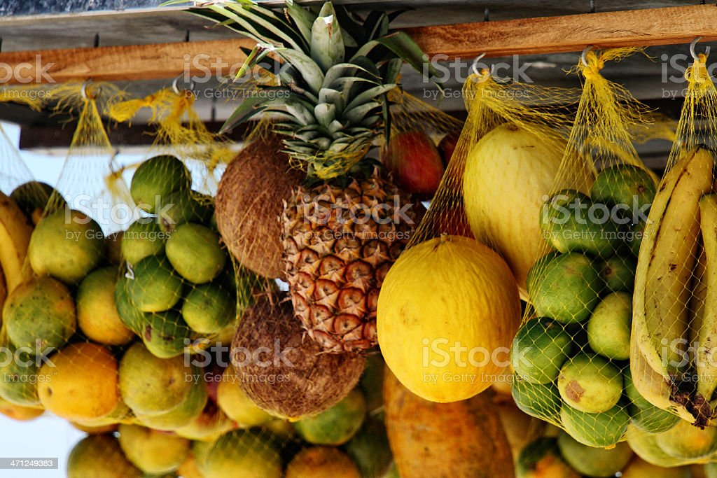 Hung tropical fruits royalty-free stock photo