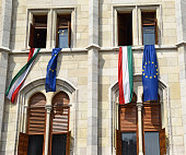 Hungarian and European Union flags