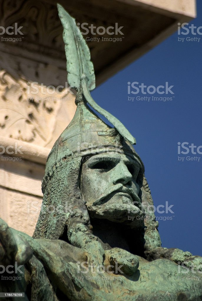 Hungarian chieftain on Heroes' Square, Budapest, Hungary stock photo