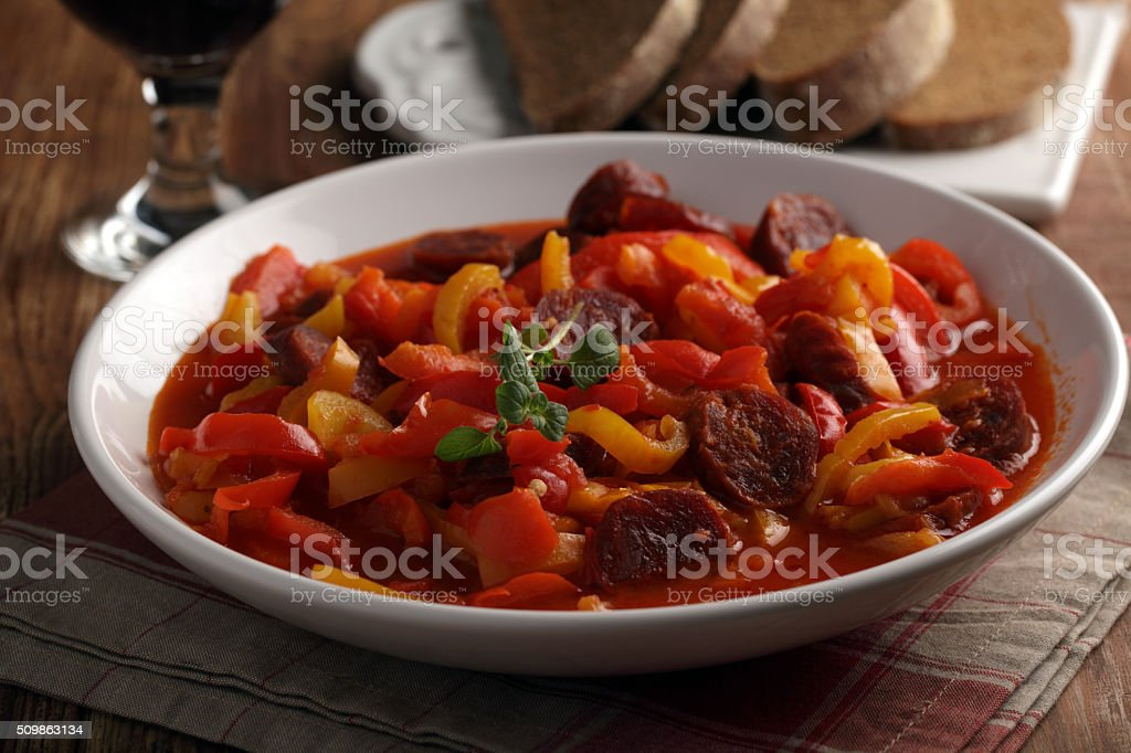 Hungarian dish Lecso stock photo