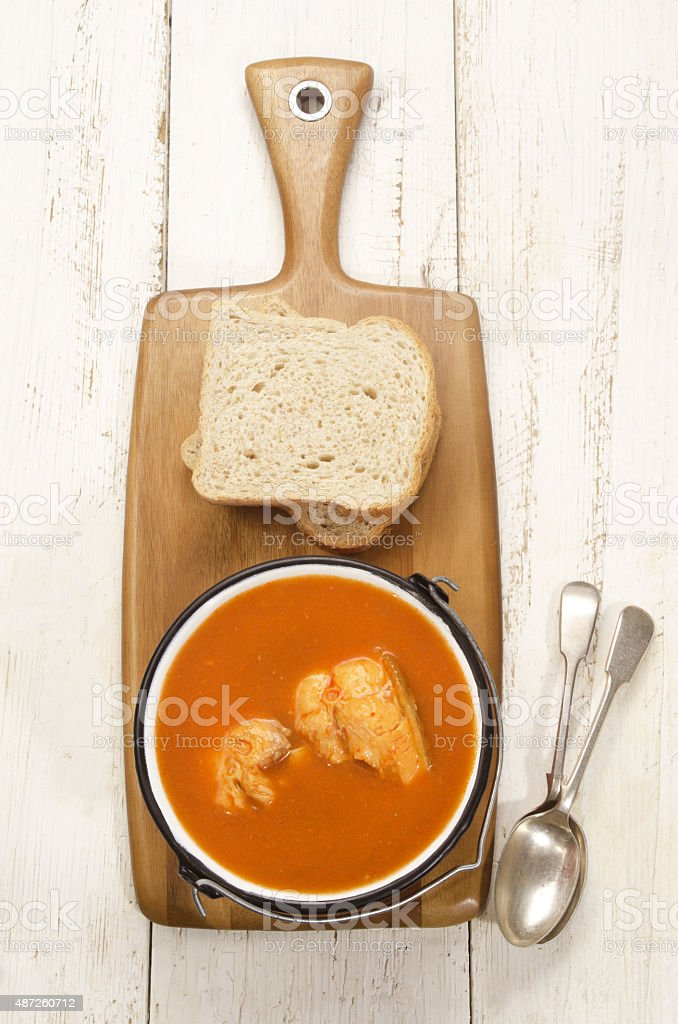hungarian fish soup in a pot stock photo