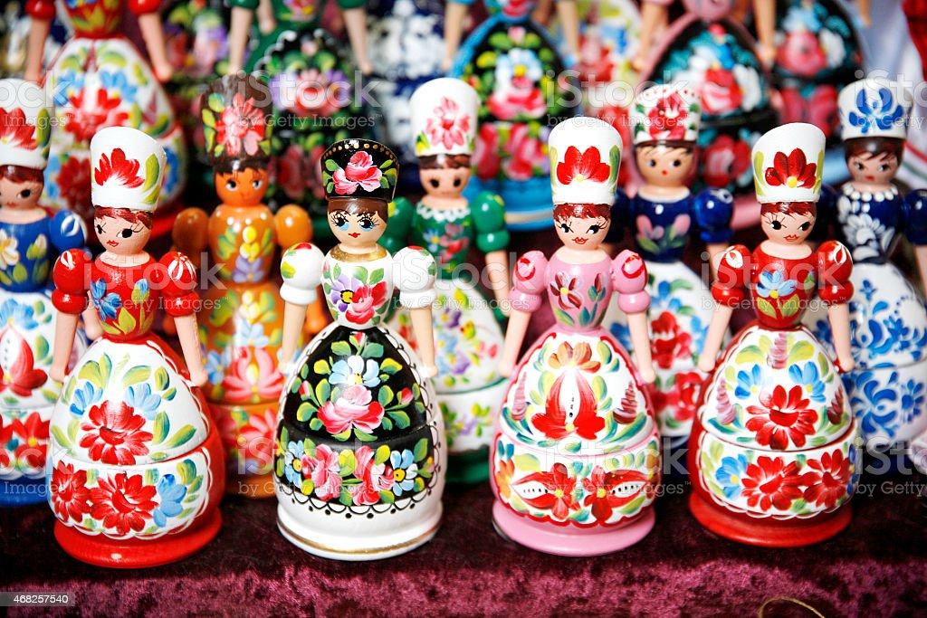 Hungarian folk art puppets stock photo