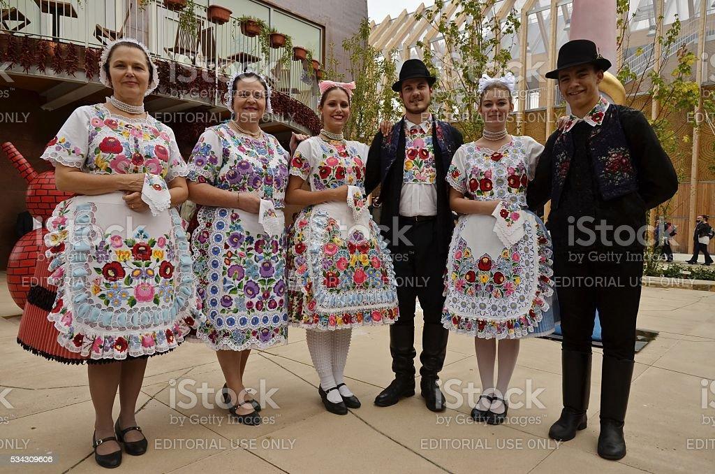 Hungarian folk dancers stock photo