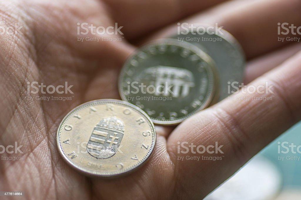 Hungarian Forint in hand stock photo