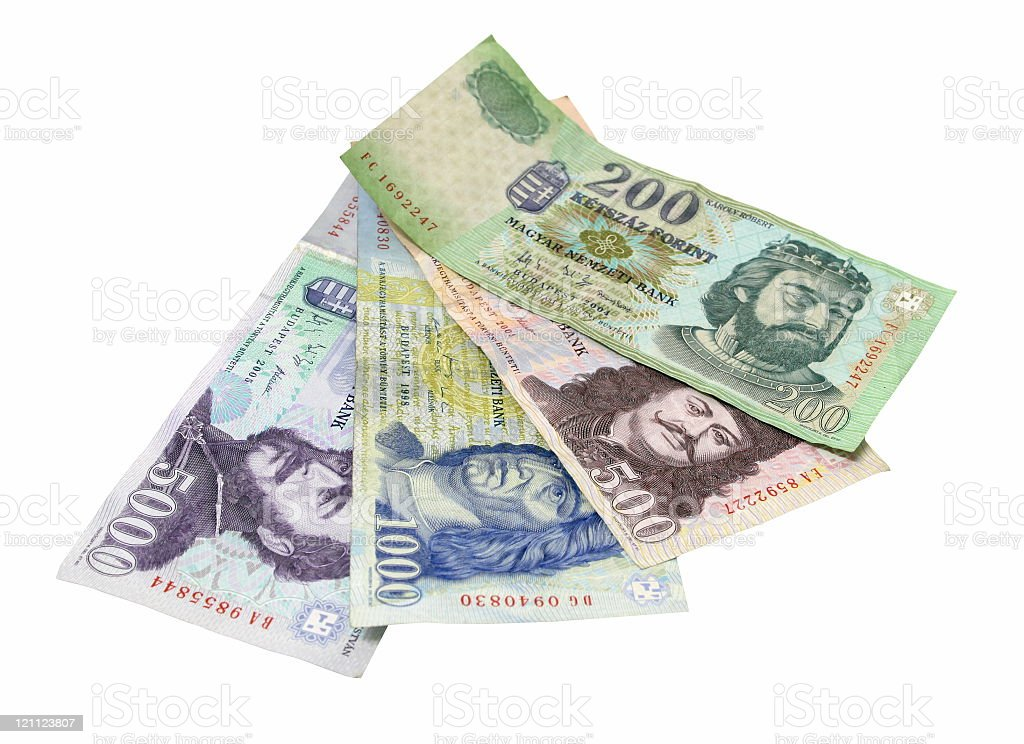 Hungarian Forint (isolated on white) royalty-free stock photo