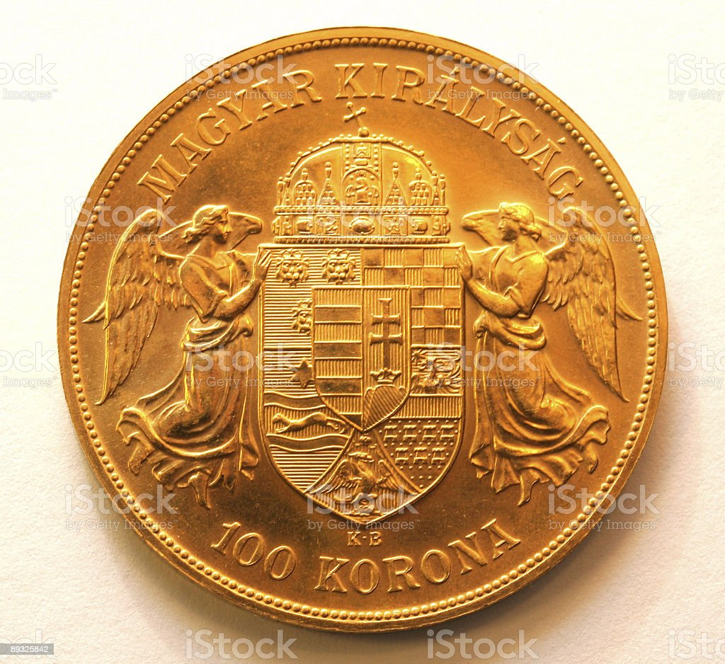 Hungarian gold coin royalty-free stock photo
