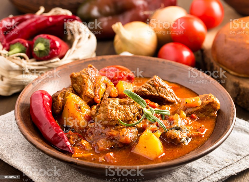 Hungarian goulash in plate stock photo