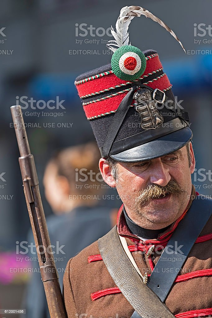 Hungarian infantry soldier - hussar stock photo
