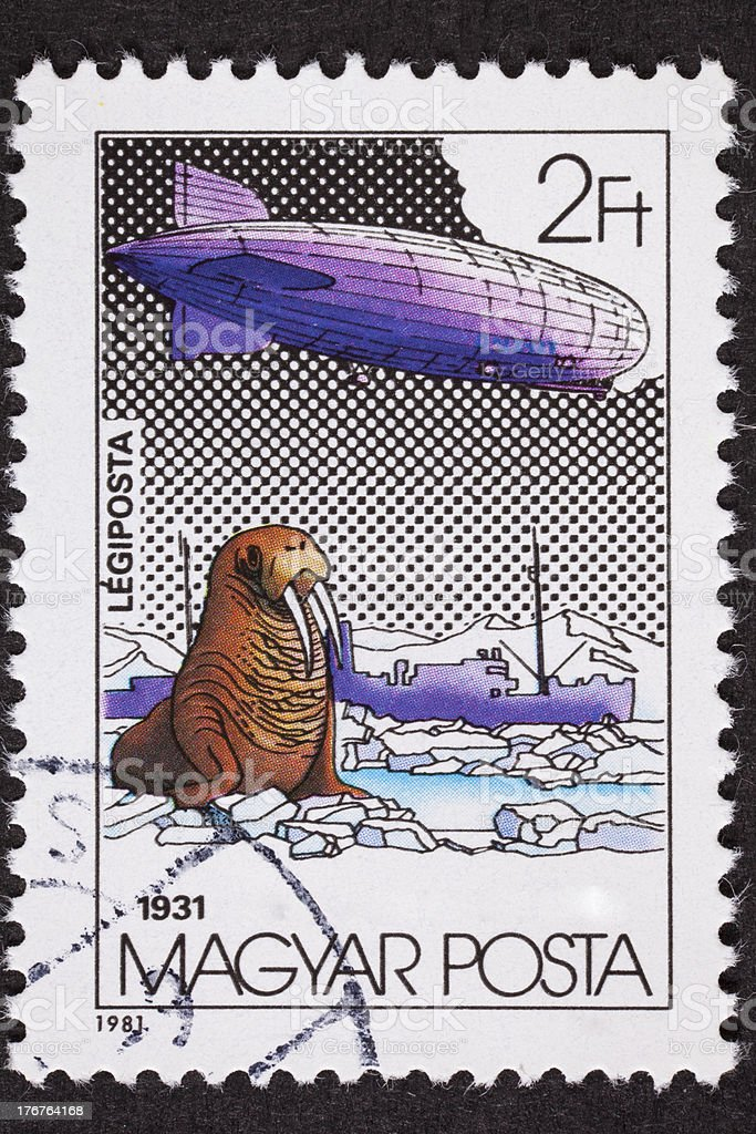 Hungarian Magyar Graf Zeppelin Air Mail Postage Stamp North Pole royalty-free stock photo